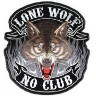 Large XXL back Lone Wolf No Club 10x11 Patch PPA3857