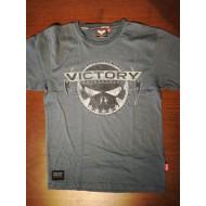 Pánské šedé tričko Victory Motorcycles Skull lebka, M - jednou nošené