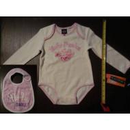 Harley-Davidson Baby Girl Roses Print Onesie + Bib Set