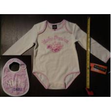 Bodíčko + bryndáček pro miminko - holčičku Harley Davidson 18M růže