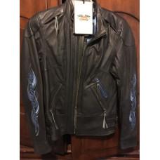 Dámská černá kožená bunda s modrými plameny 97112-12VW, vel. S