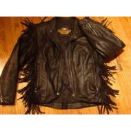 Dámská ČERNÁ kožená bunda Harley Davidson s třásněmi - použitá,vel.M