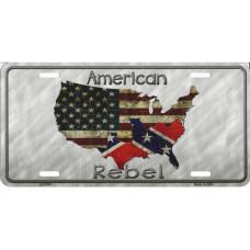 American Rebel Confederate Flag Metal License Plate Sign 6x12