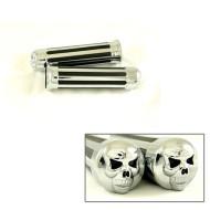 HG001 - Motorcycle Skull Chrome Rubber Hand Handlebar Grips