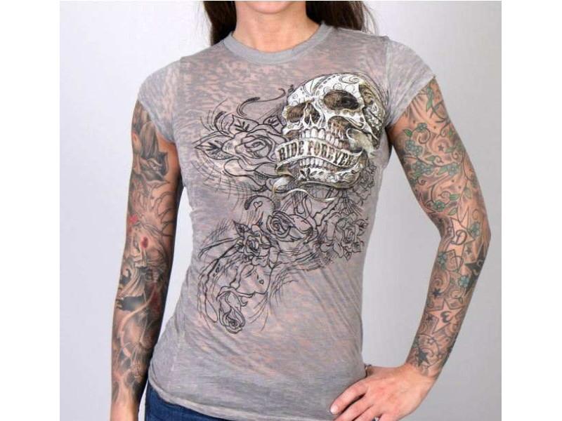 a6bb9dd81f7f Dámské motorkářské sexy tričko lebka Ride Forever vel. L - GLC1321 -
