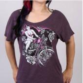 Hot Leathers Purple Retro Pin Up Dolman T-Shirt Medium Large XLarge