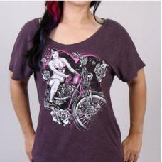 Dámské motorkářské fialové tričko dívka na motocyklu vel. M, L, XL
