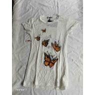 Harley Davidson Women's, butterflies T-shirt, White, Size XL