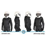 Dámská černá kožená airbagová bunda Helite pro motorkářky
