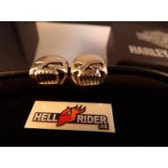 Harley-Davidson Womens Break Free Double Willie G Skull Medallions with Crystal Eyes Bracelet