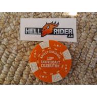 Oranžový kasino žeton Harley Davidson 110. výročí Milwaukee 2013
