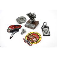 6pcs Harley-Davidson Shovelhead Motorcycle Gift Set (engine model, patches, pin, buckle)