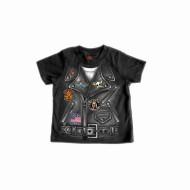Motorkářské tričko jako kožená bunda (křivák) pro miminko GYS1034