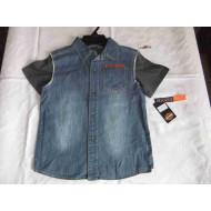 Harley-Davidson Little Boys' Frayed Denim Blow-Out Shirt 2-Piece Set
