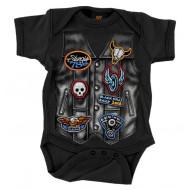 Dětské motorkářské černé body pro miminko Harley Sturgis 2018