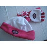 Harley Davidson sada rukavice + čepice růžové - dívčí, 4-14 let