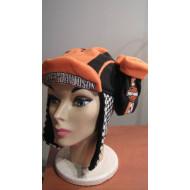 Harley Davidson sada rukavice + čepice oranžovo-černé - dětské,asi 1 rok