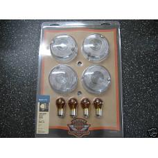 Harley Davidson NOS Turn Signal Lens Kit - Clear, Domed - #69305-02