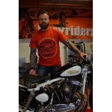 Easyriders Men's short Sleeve Shirt orange ORIGINAL CUSTOM BIKE Large