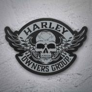 Reflexní nášivka Harley Davidson HOG 2014 Skull - velká zádová 27x19cm