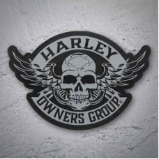 Harley Davidson HOG 2014 Skull & Wings large back patch - reflective