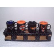 Sada 4 keramických mini hrnečků Harley Davidson