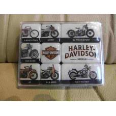 Harley Davidson Mini Magnets Set of 9