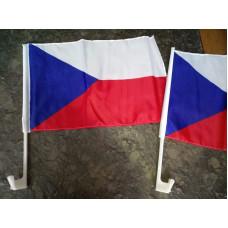 Česká vlajka ČR s držákem na okno auta nebo na kufr motocyklu