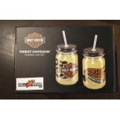 Harley-Davidson Flames Glass Jar Set w/ Straws, Set of 2 - 16 oz. HDL-18793