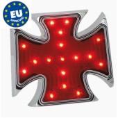 EU homologované LED zadní světlo maltézský kříž s podsvícením SPZ pro chopper nebo Harley Davidson
