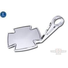 EU Approved Chrome Maltese Iron Cross Mirror E-mark