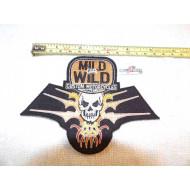 Motorkářská nášivka Harley Mild or Wild Custom Motorcycles Inc. 80.léta lebka s plameny