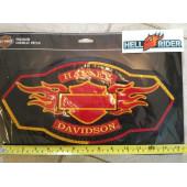 Harley Davidson velká zádová nášivka logo a plameny, 37x19cm