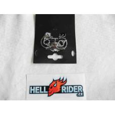 Harley Davidson Women's Radial Charm Hoop Earrings, Silver Finish 97687-18VW