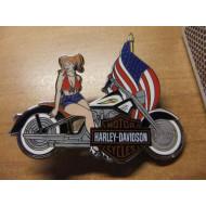 Harley Davidson Lady on Harley US flag Pin