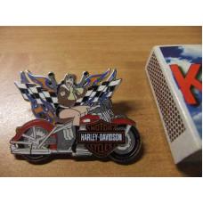 Harley Davidson Biker Lady on Harley Flames Pin