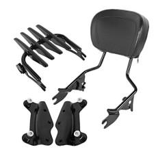Black or chrome Harley Touring Sissybar Backrest with Rack and docking kit 2014-2020