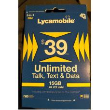 LYCAMOBILE USA Preloaded Sim Card Prepaid 15GB