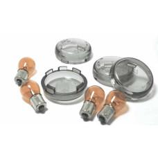 Harley Davidson Smoke Turn Signal Bullet Lenses with Bulbs - EU Approved