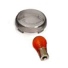 E-Marked Harley Davidson Smoke Turn Light Lens Amber Bulb 1pc