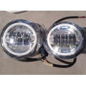 """EU homologovaná LED přídavná světla pro Harley Electra 2x 4.5"""" - chromová se svítícími kroužky"""