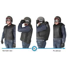 Pánská černá kožená airbagová vesta Helite pro motorkáře