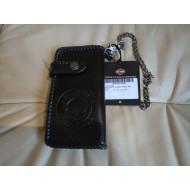 Pánská černá velká kožená peněženka Harley-Davidson Skull s řetězem 97793-18VM