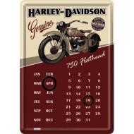 750 Flathead Harley-Davidson Metal Postcard - Calendar