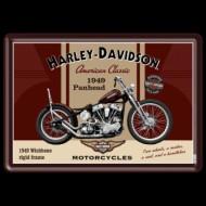 Harley-Davidson plechová pohlednice 1949 Panhead American Classic
