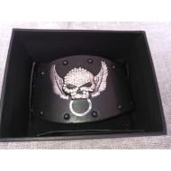 Harley-Davidson Womens Secret Crystal Rhinestone Willie G Skull Black Leather Wrist Cuff