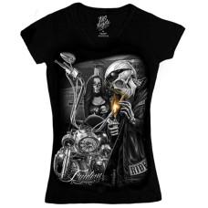 Biker Ride or Die Women's V-neck Shirt - Freedom   L