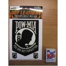 Biker Pow Mia You are not Forgotten Transparent Decal D2143