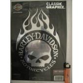 Harley-Davidson velká chromová lebka s plameny Willie G Skull 23x33cm