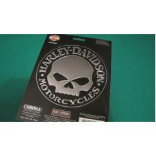 Harley Davidson velká zrcadlová samolepka Skull průměr 14,5cm